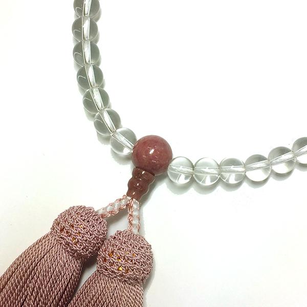 略式念珠 片手念珠 水晶バラ輝石仕立