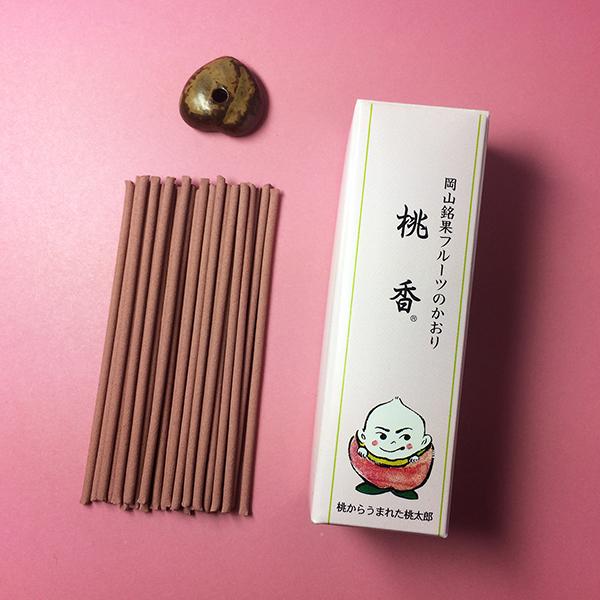 三香堂 線香 桃香 リップ型 備前焼桃型香立付